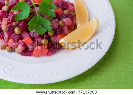 Vinaigrette, traditional Russian salad of beetroot, selective focus.