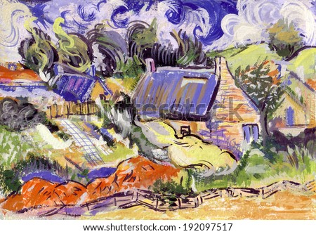 Vincent motif landscape watercolor oil museum illustration painting poster france summer drawing