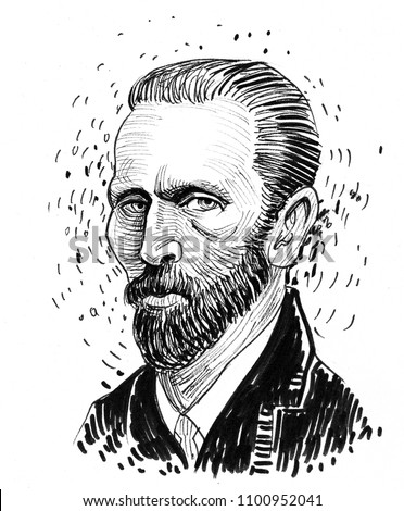 Vincent van Gogh. Ink black and white drawing