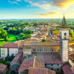 Vinci village, Leonardo birthplace, aerial view and bell tower of the church. Florence, Tuscany Italy Europe
