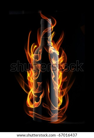 Vine bottle in fire and flame