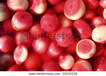 vinegar onion red spicy market food background - stock photo