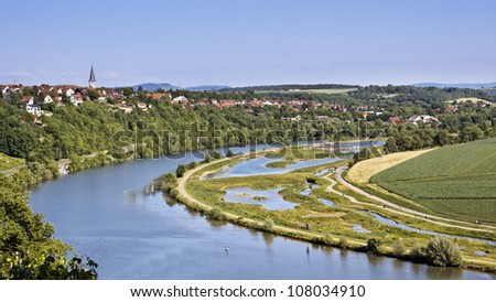 Vineyard with the river Neckar, Stuttgart (Poppenweiler)