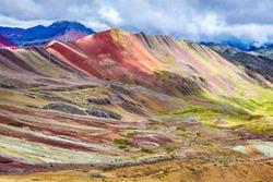 Vinicunca, Peru - Rainbow Mountain (5200 m) in Andes, Cordillera de los Andes, Cusco region in South America.