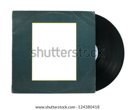 Vinil Record and cover white isolated Stock fotó ©