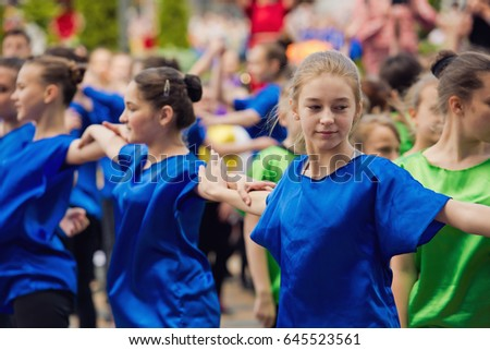Vinnytsia Ukraine - May 20, 2017: Day of Europe. The celebration of day Europe in the central square of the city of Vinnytsia. Children perform at the festival.