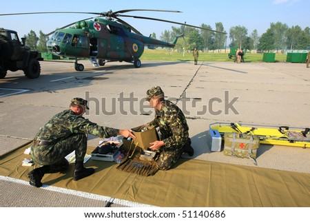 VINNYTSYA, UKRAINE - JUNE 10: Military mobile hospital during a medical military trainings on June 10, 2008 in Vinnytsya, Ukraine