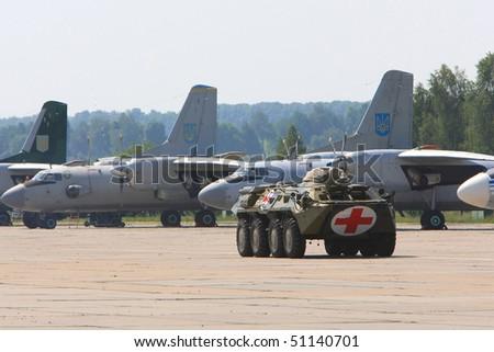 VINNYTSYA, UKRAINE - JUNE 10: Military mobile hospital during a medical military trainings on June 10, 2008 in Vinnytsya, Ukraine