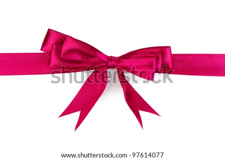 Vinous satin bow and ribbon isolated on white