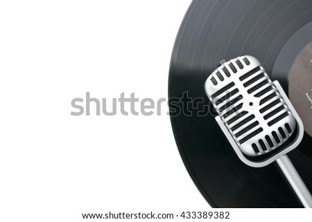 vintage a and vinyl record on...