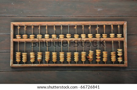 Vintage Abacus Place On Wood Background