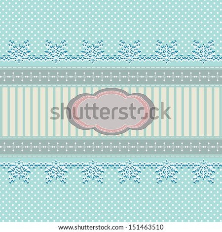 vintage abstract Christmas background with snowflakes ornament and polka dots, for invitation or greeting card, raster version of vector illustration