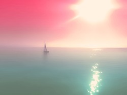 vintage abstract instagram style filter blurred summer background with small yacht in the middle of the ocean. Pink sunrise sky