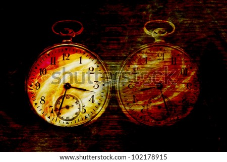Vintage abstract old clock in diabolic red flame