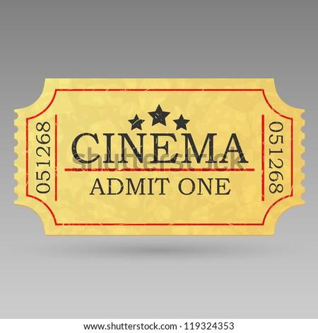 Vintage admit one ticket. Illustration.