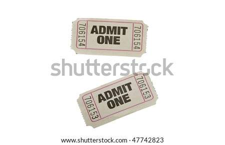 vintage admit one tickets close up