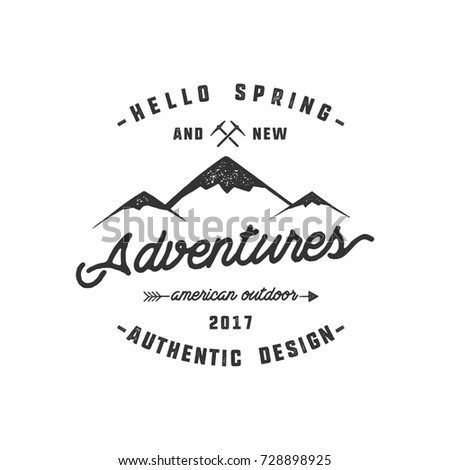 Vintage adventure Hand drawn label design. Hello spring and new adventures sign and outdoor activity symbols - mountains, climb gears. Monochrome. Isolated on white background.