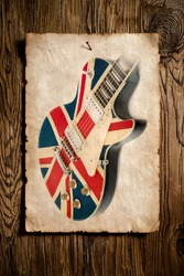 vintage advert of british rock guitar hanged on wooden wall