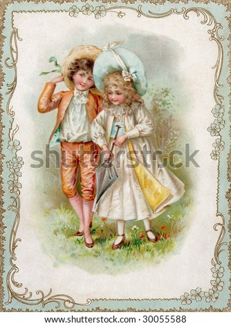 Vintage Advertising Card Illustration - Courting Couple