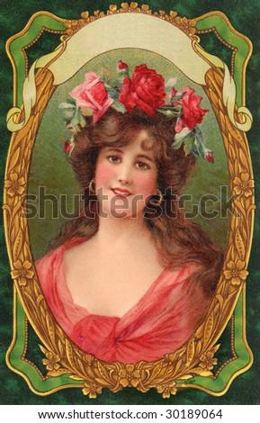 Vintage Advertising Card Illustration - Portrait of a Lady
