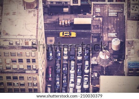 Vintage aerial picture of street in New York City, USA