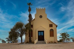 Vintage African church build in Namibia in 19 April 1938
