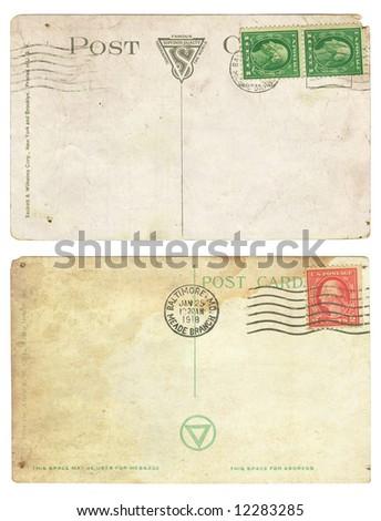 Vintage aged background old Postcard