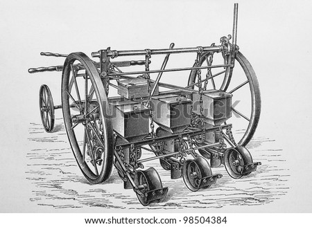 Vintage agriculture equipment from the beginning of 20th century - Picture from Meyers Lexicon books collection (written in German language) published in 1909, Germany. - stock photo