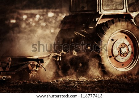 vintage agriculture industrial background in autumn time