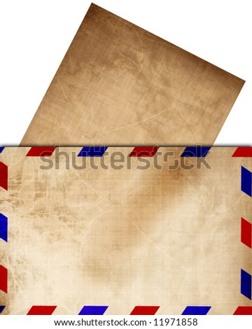 Vintage air mail envelope with letter sticking out - stock photo