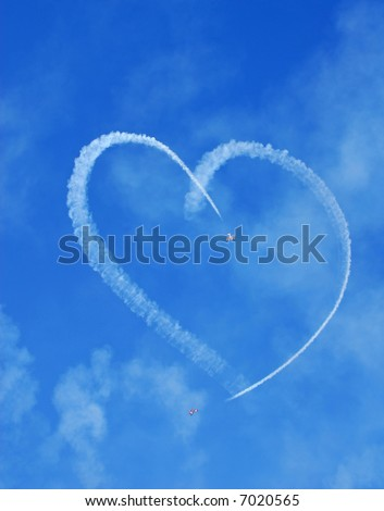 Vintage Aircraft Sky Writing Romantic Heart Shape
