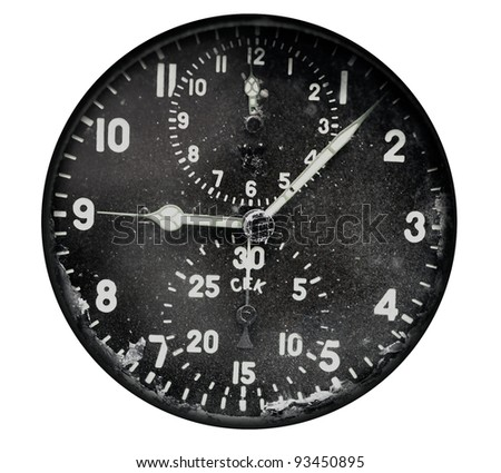 Vintage airplane clock isolated on white background