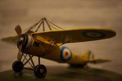 Vintage airplane toy Vintage Yellow Metal toy airplane (Focus on next to propeller)