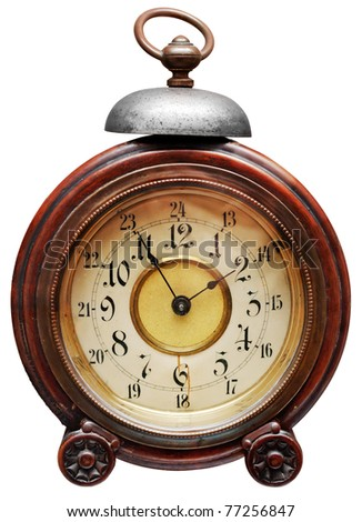 Vintage alarm-clock isolated on white. Clipping path included.