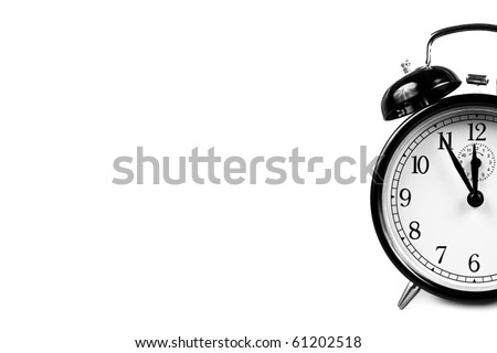 Vintage Alarm Clock isolated on white in black and white