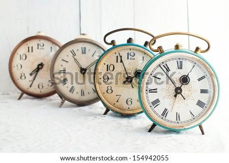 Vintage alarm clock. Time concept.