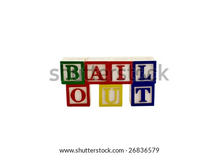 Vintage alphabet blocks spelling out the word bailout