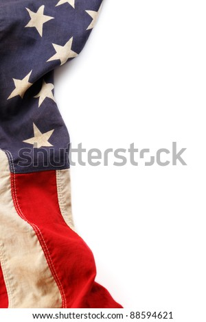 Vintage American flag border isolated on a white background - stock    Vintage American Flag Border Clip Art