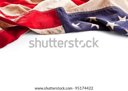 Vintage American flag border isolated on white