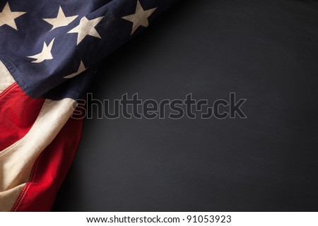 Vintage American flag on a chalkboard with space for text #91053923