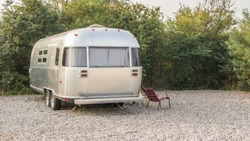 Vintage American mobile home on a camping site in the Netherlands