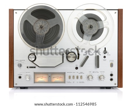 vintage analog recorder reel tape on white background, isolated path included