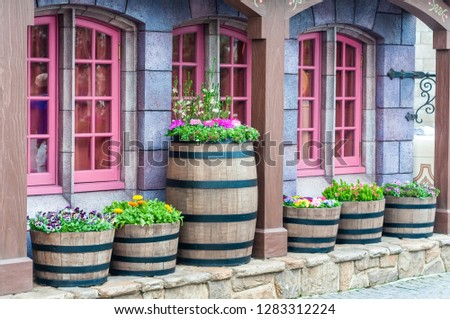 Vintage and antique building with pink frame windows decoration by cask barrel and various flowers.  House gardening with antique flower pot.