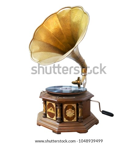 Vintage and classic gramophone isolate on white. clipping path for object, retro technology #1048939499