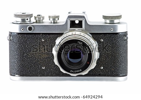 Vintage and retro camera (front view) isolated in white