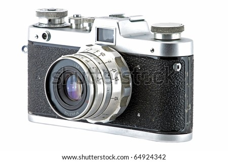 Vintage and retro camera (side view) isolated in white