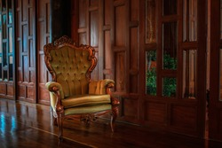 Vintage antique armchair in the room