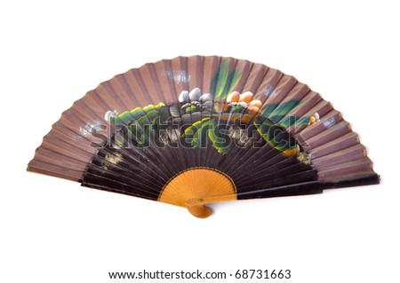 Vintage antique fan on isolated white background - stock photo