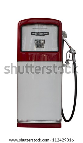 Vintage antique Gasoline fuel pump ,clipping path