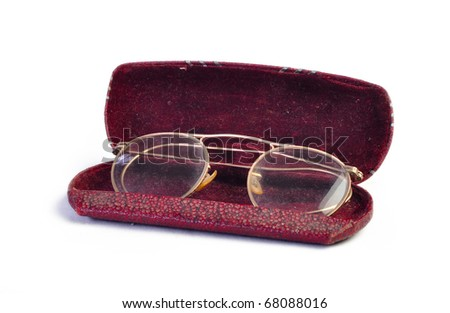 Vintage antique glasses on white background